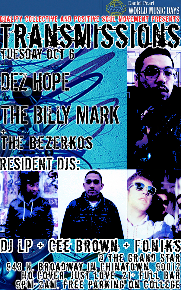 Free Live Music.  Billy Mark (Freestyle Acoustic), Dez Hope (Folk/Hip Hop Hybrid) and The Bezerkos (Classic Rap)